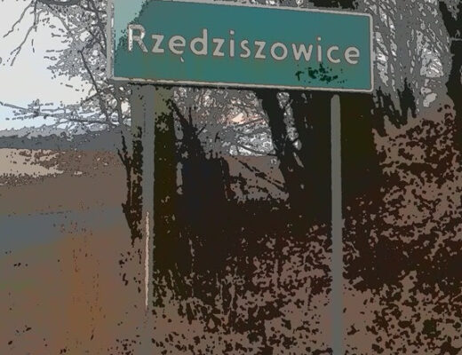 A town street sign in Polish which is very difficult to read