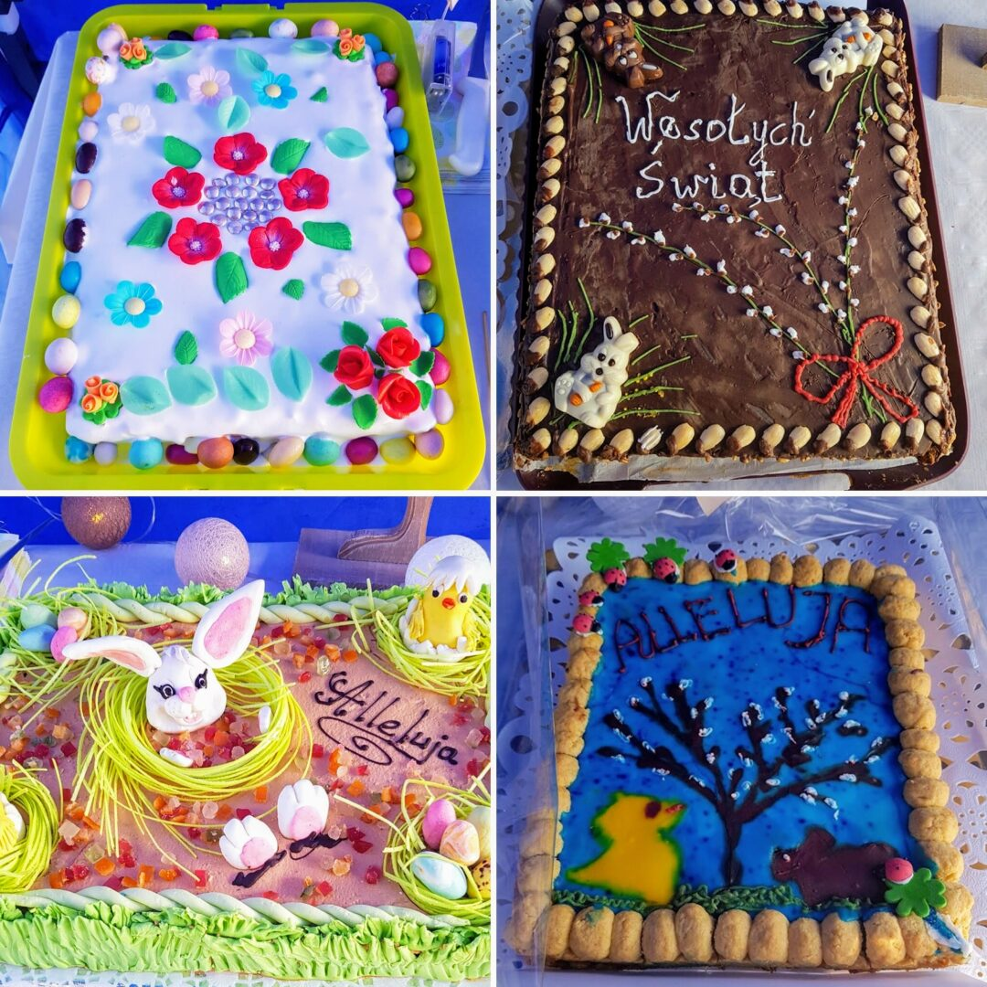Collage of 4 Polish Easter cakes called Mazurek