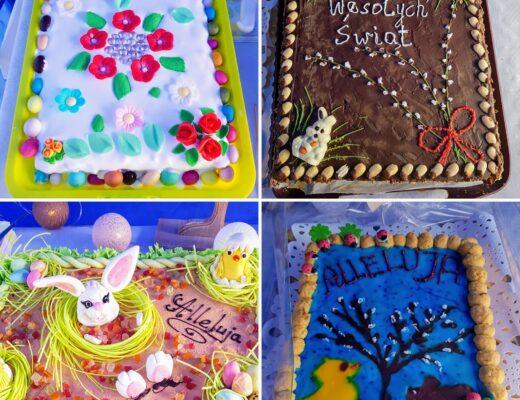 Collage of 4 Polish Easter cakes called Mazurek