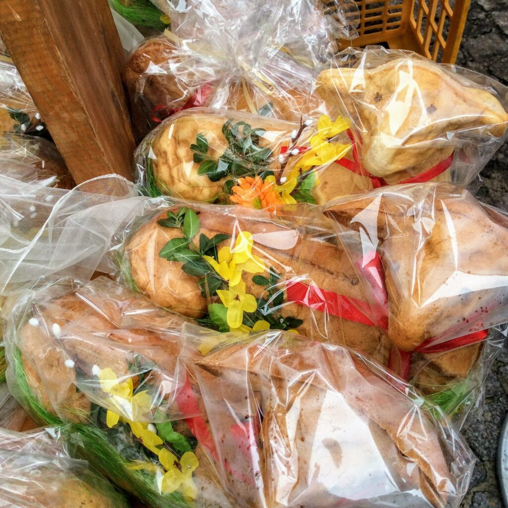 Polish Easter lamb cakes in plastic for sale at an Easter festival in Poland
