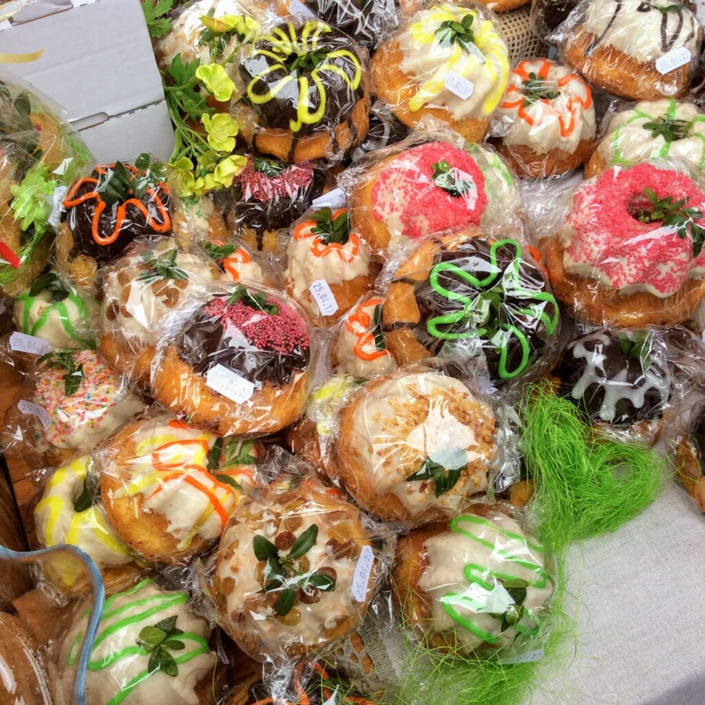 Mini Easter babka cakes for sale at a stall at a Polish Easter festival