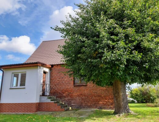 A red brick farmhouse in German style with a white added-on porch and a linden tree