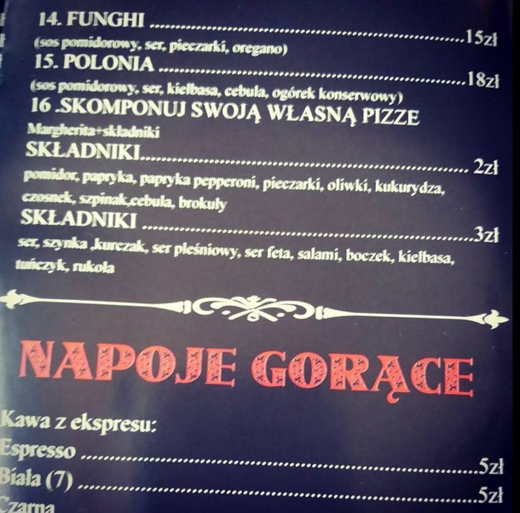 A menu in Polish