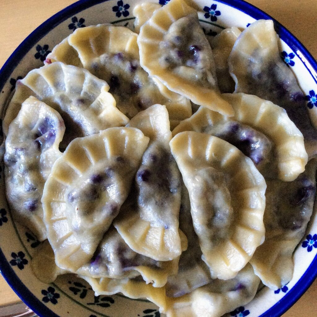 Large batch of wild blueberry pierogi on a plate