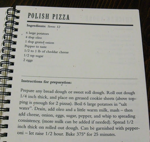 Page out of a recipe book for Polish pizza