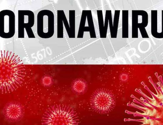 A Polish flag, white and red, with the word Corona Virus at the top and virus cells around the bottom